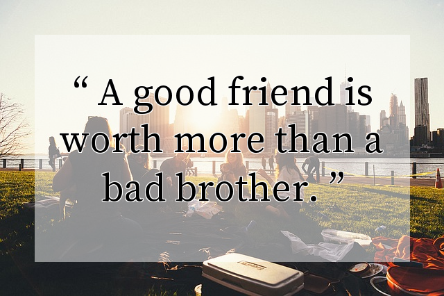 A good friend is worth more than a bad brother.