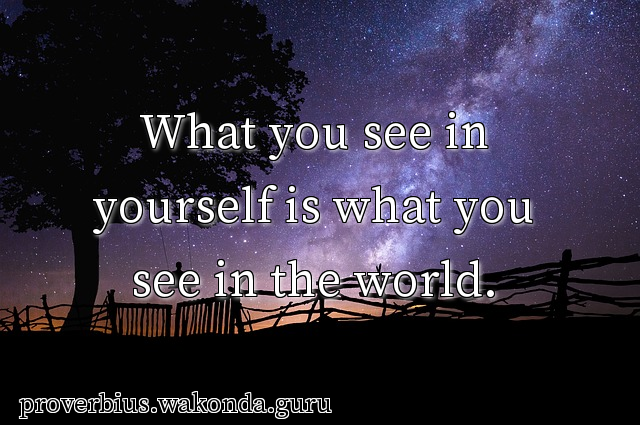 What you see in yourself is what you see in the world.