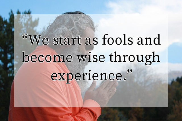 We start as fools and become wise through experience.
